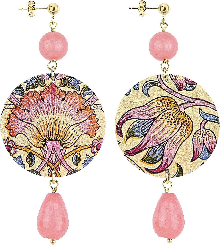 In Lebole Colección The Circle - Pendientes de mujer de latón con piedra rosa ahumada