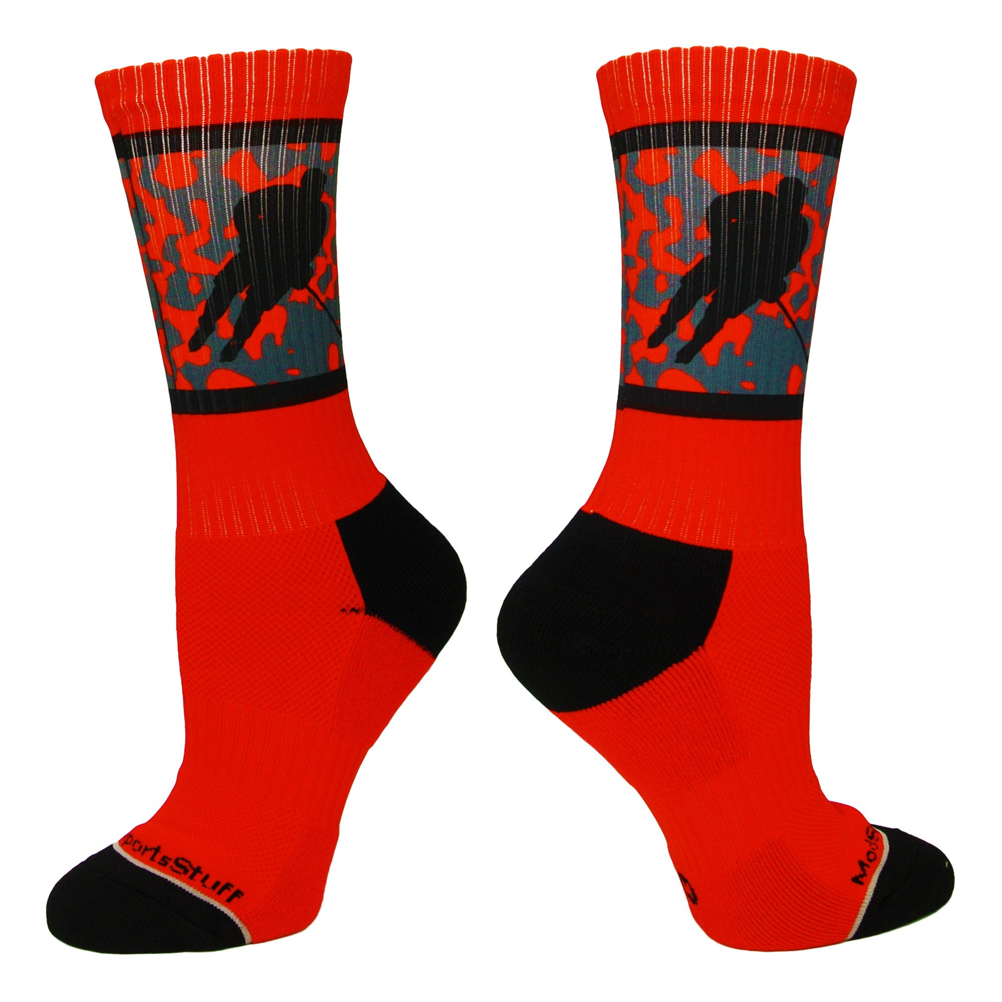 MadSportsStuff Hockey Player Crew Socks (Red/Black, Large)