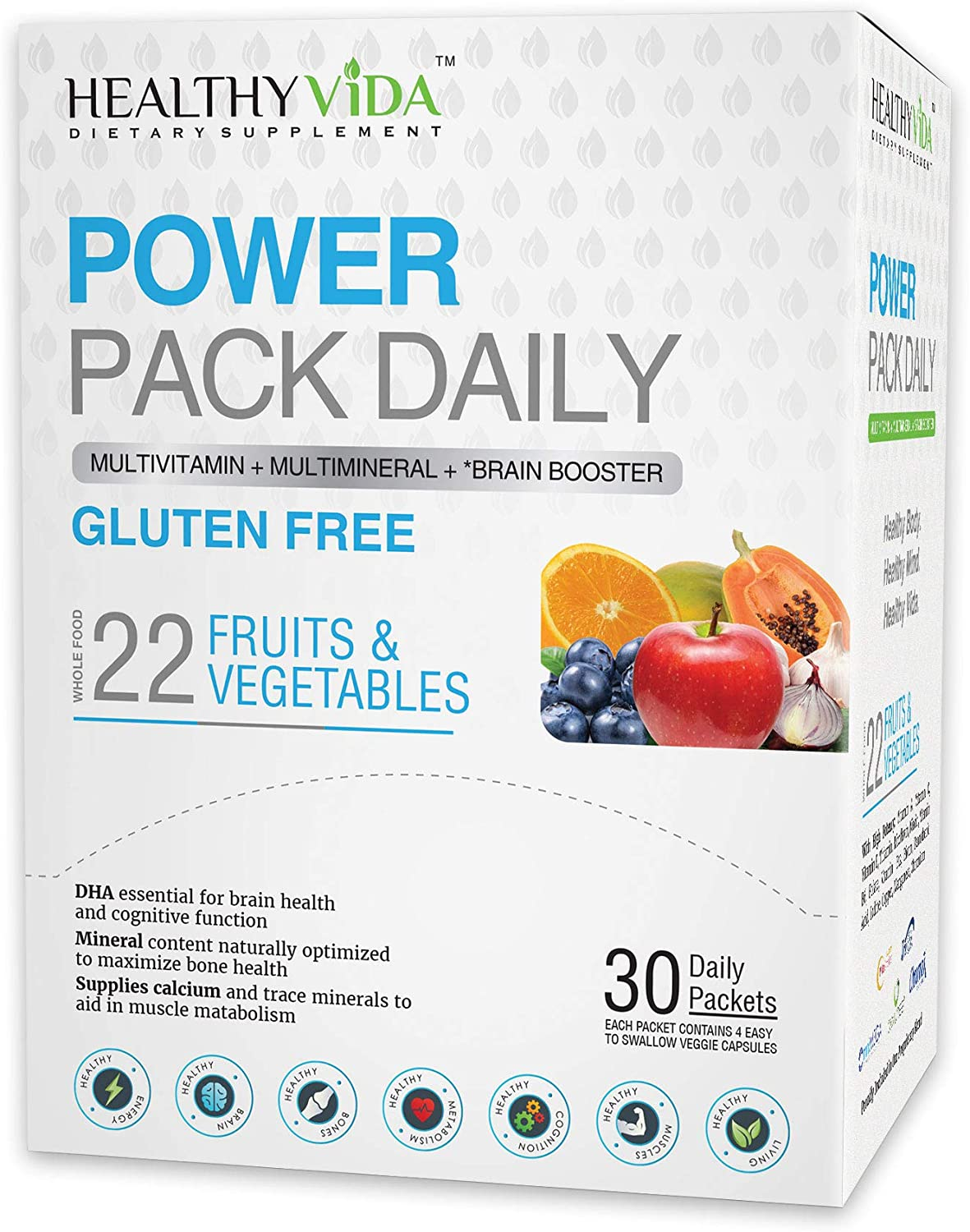 Healthy VIDA Power Pack Daily Multi Vitamin, Multi Mineral and Nootropic for Women and Mens Health