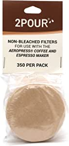 350 x Paper Filters for Use with The Aeropress Coffee Maker - Non Bleached Natural - 2POUR. Perfect Stocking Filler for Xmas Christmas