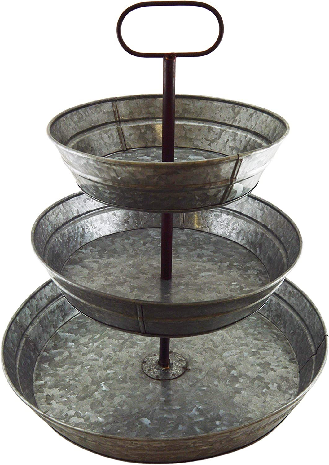 3 Tier Galvanized Steel Serving Tray with Handle, Rustic Vintage Farmhouse Style Party Platters for Cupcakes, Fruit, and Other Desserts or Foods - SciencePurchase