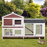 PURLOVE Pet Rabbit Hutch Wooden Bunny Cage Small Animals House for Outdoor/Indoor Use
