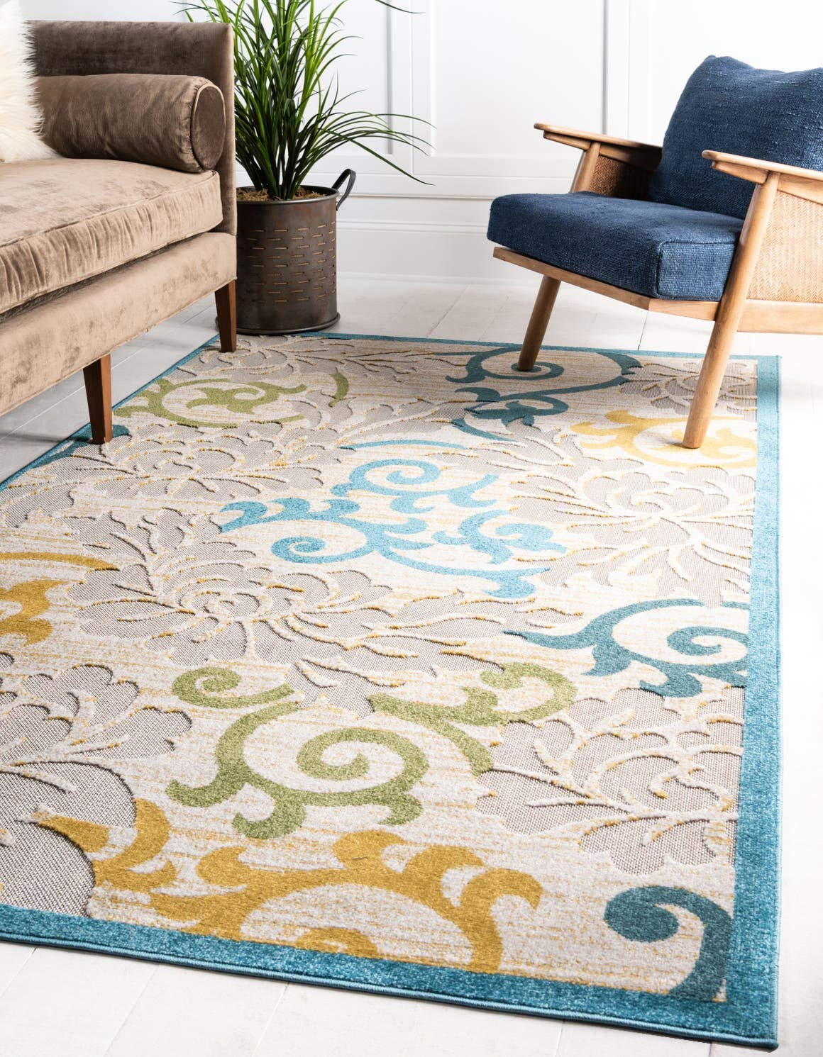 Unique Loom Outdoor Botanical Collection Carved Abstract Transitional Indoor and Outdoor Flatweave Blue Area Rug 4 0 x 6 0