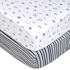 American Baby Company 2 Pack Printed 100% Cotton Jersey Knit Fitted Crib Sheet for Standard Crib and Toddler Mattresses, Navy/Grey Sports Stripes, for Boys and Girls