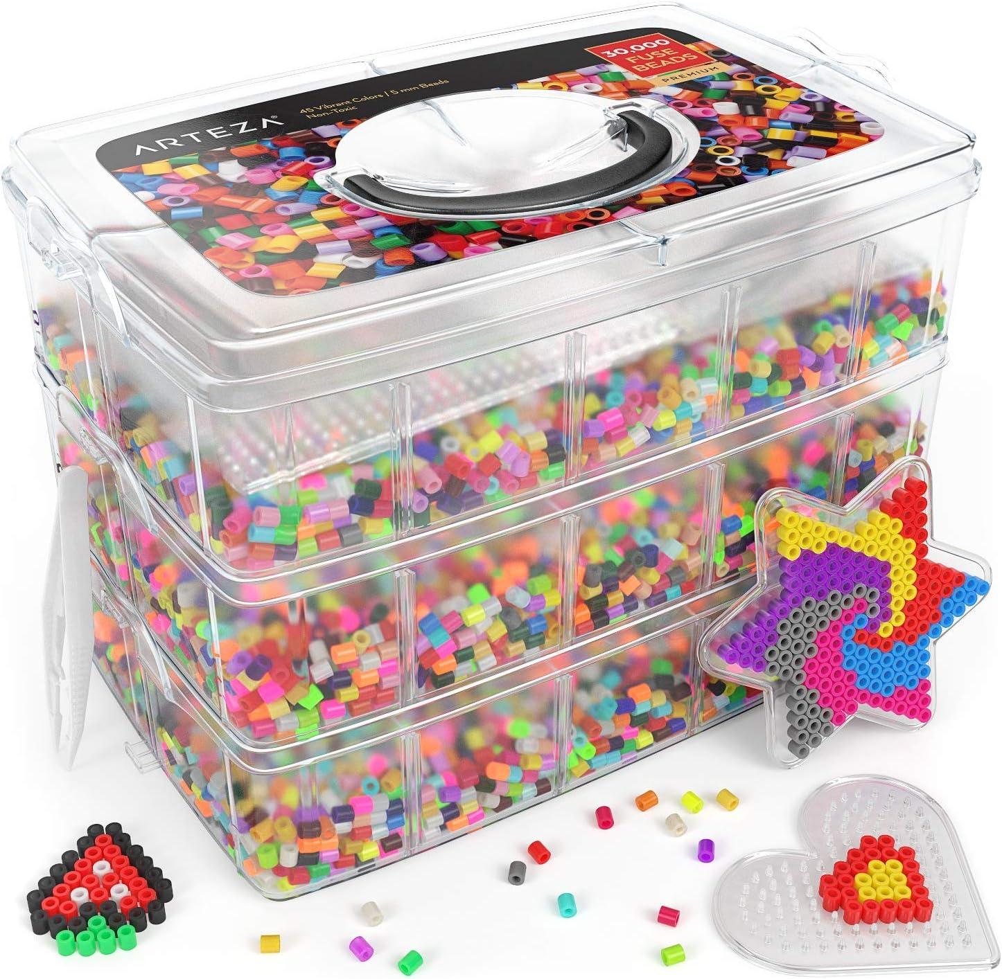 ARTEZA Cuentas y Abalorios hama Beads | 30.000 Cuentas para Planchar | 5 mm | 45 Colores | Neón y fosforescente | 5 Plantillas + 2 Pinzas + 5 Papeles de Planchar | para mosaicos Infantiles: Amazon.es: Juguetes y juegos