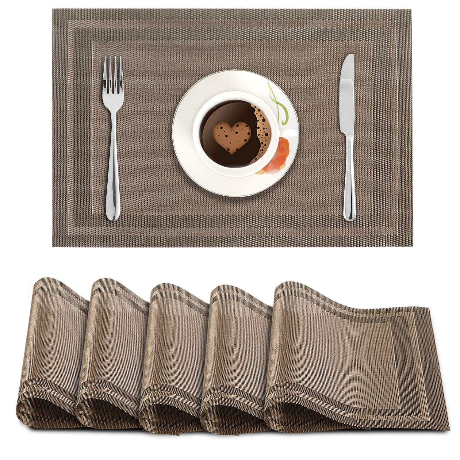 HOKIPO PVC 6 Pieces Dining Table Kitchen Placemats (45 X 30 cm, Brown)