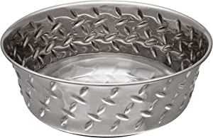 Loving Pets Diamond Plated Dog Bowl with Non-Skid Bottom, 5-Quart, Silver (7258)
