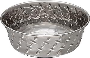 Loving Pets Diamond Plated Dog Bowl with Non-Skid Bottom, 3-Quart, Silver (7257)