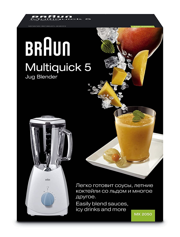 Braun - Batidora Vaso Mx2050, 525W, 5 Veloc, Jarra Cristal 1,75L, Pica Hielo, Blanco.: Amazon.es: Hogar