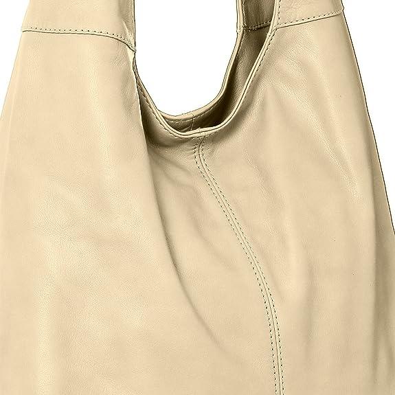 CASPAR Damen Handtasche / Schultertasche / Shopper / aus weichem NAPPA LEDER - viele Farben - TL610, Farbe:creme weiss CASPAR Fashion