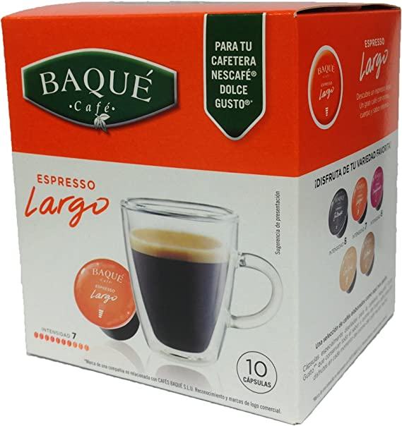 Cafés Baqué - 10 Capsulas Compatibles Dolce Gusto. Espresso Largo ...