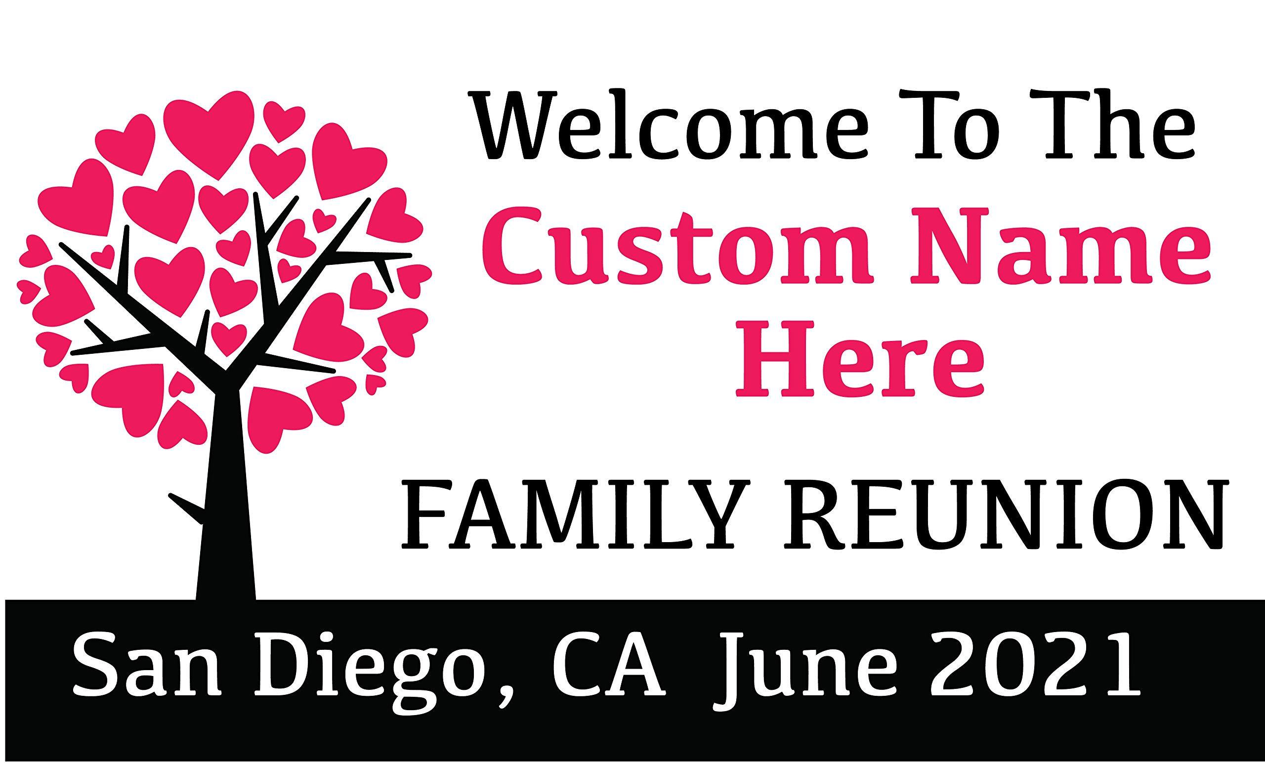 Family Reunion Custom Printed Banner - Tree Hearts Pink (10' x 5') by Reliable Banner Sign Supply & Printing