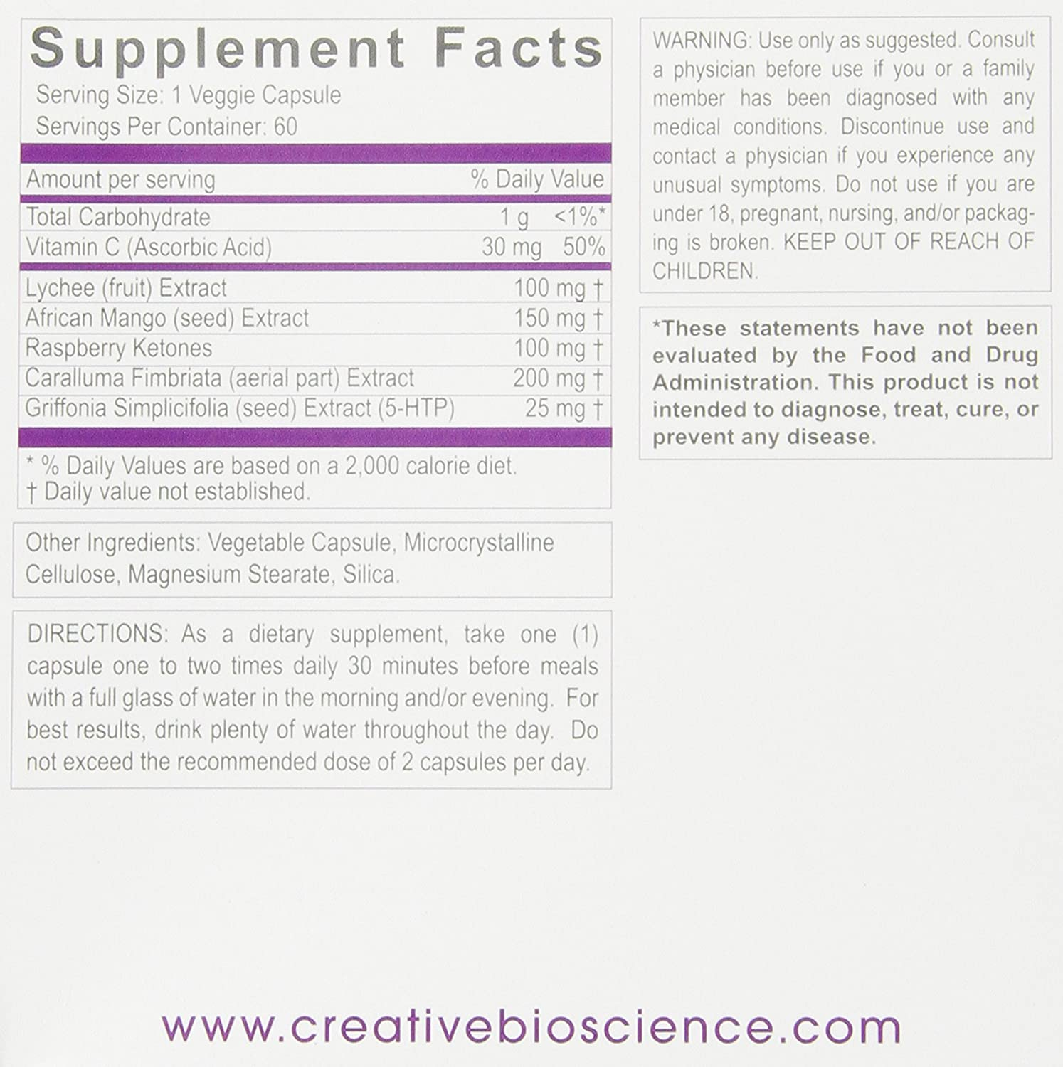 Amazon.com: Creative Bioscience Reduce Raspberry Ketones5-HTP,60 Veggie Capsules: Health & Personal Care