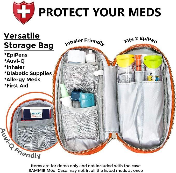 Pink EpiPen Case Auto Injector Slim 2 x 8 in Insulin Pen Case Feminine Diabetic Supply Pouch
