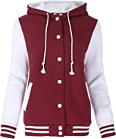 Zeagoo Women&39s Fleece Varsity Baseball Hoodie Jacket at Amazon