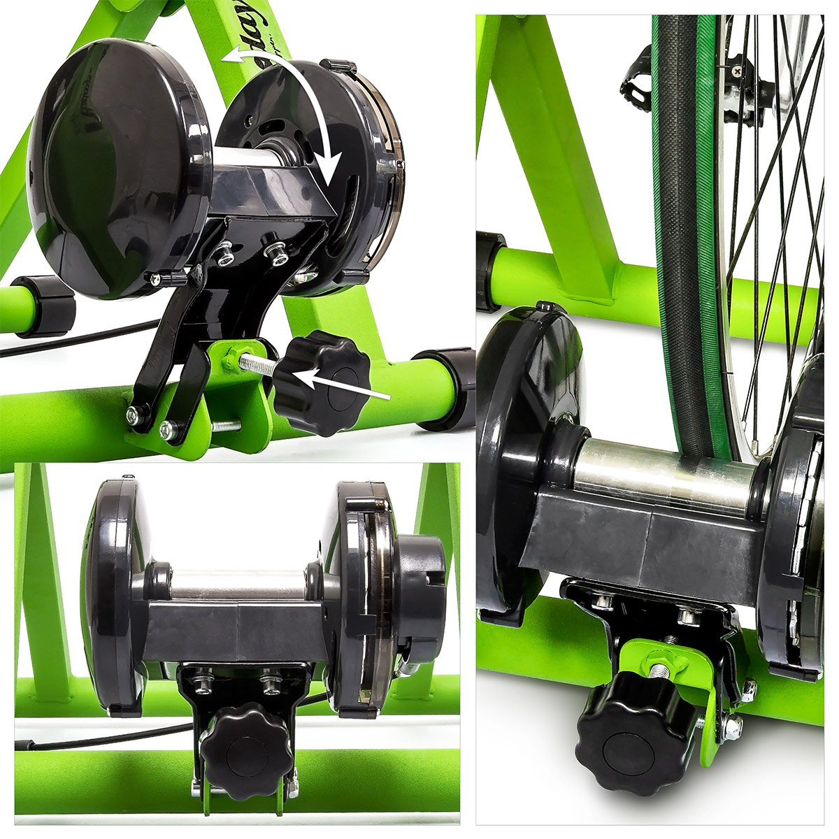 Blue//Green for 26-28 Wheels Indoor Cycling Stand 6 Gears Cardio Workout Relaxdays Indoor Bicycle Resistance Trainer