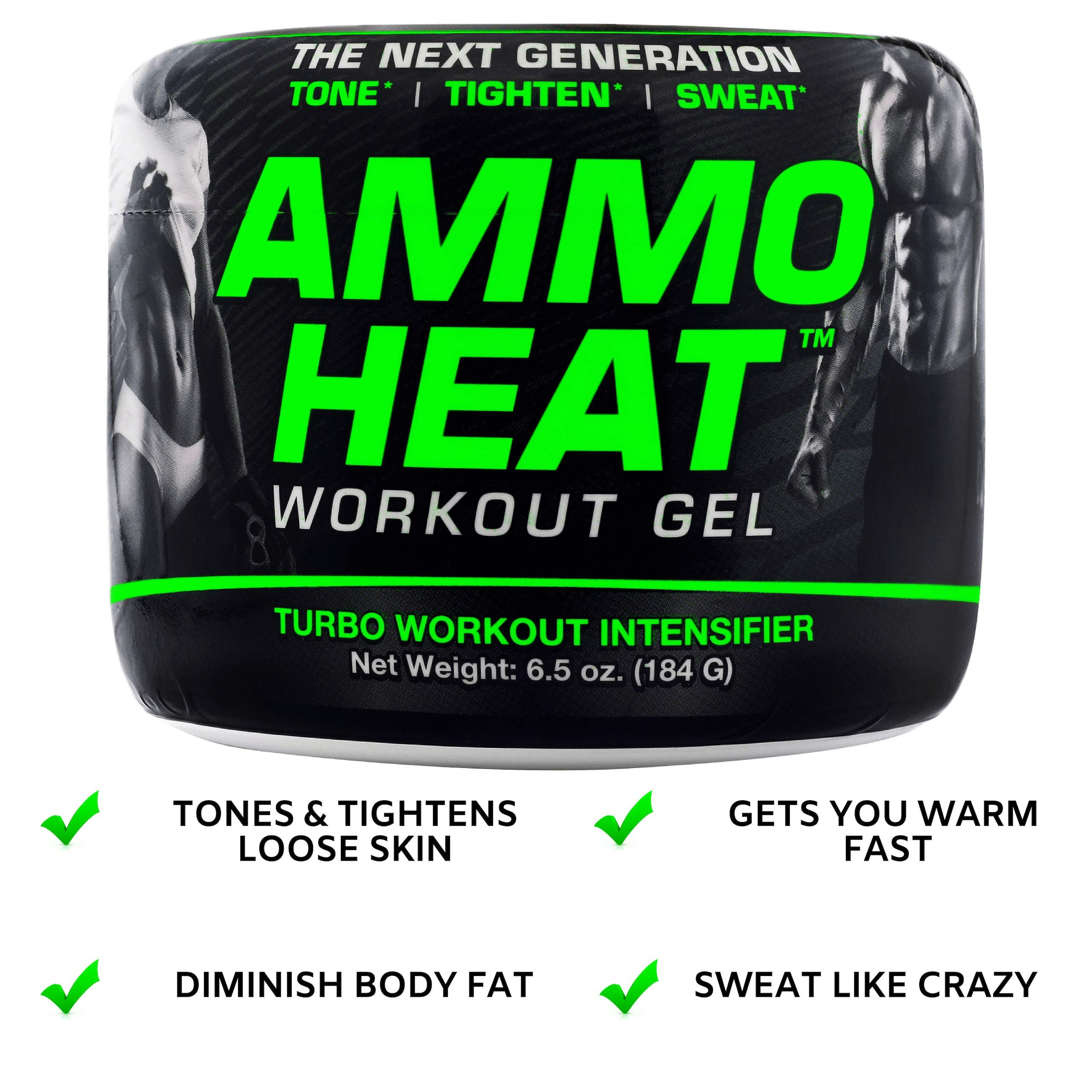 AMMOHEAT 6.5 oz. | Thermogenic Fat Burner and Skin Tightening Topical Gel | Sweat and Weight Loss Intensifier - Tone, Tighten, and Sweat | Made with ShapePerfection and Collagen