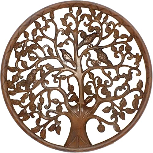 TUP THE URBAN PORT Brown Circular Mango Wood Wall Panel