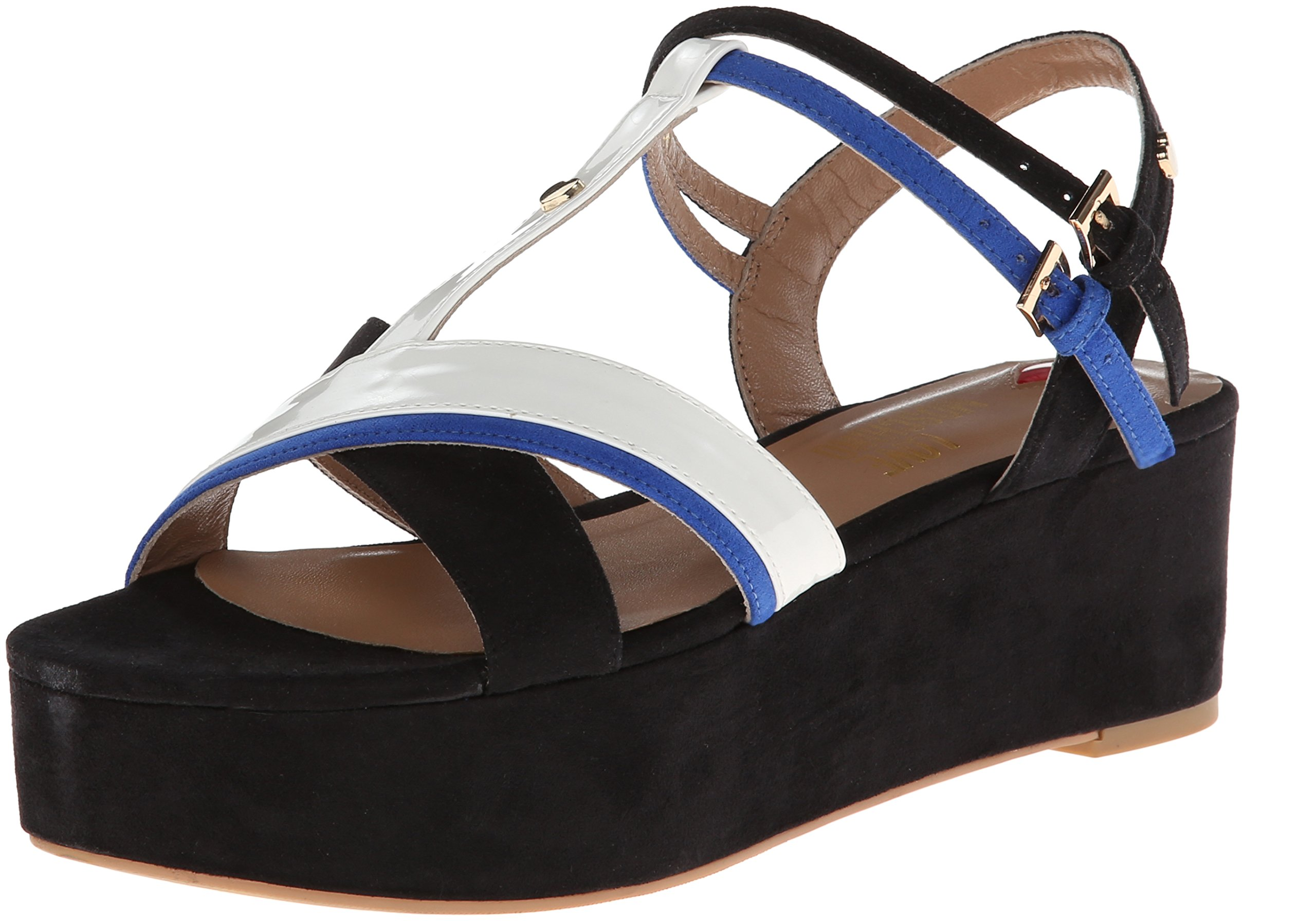 LOVE Moschino Women's Colorblock Strappy Sandal Black/Blue/White 37 (US Women's 7) M