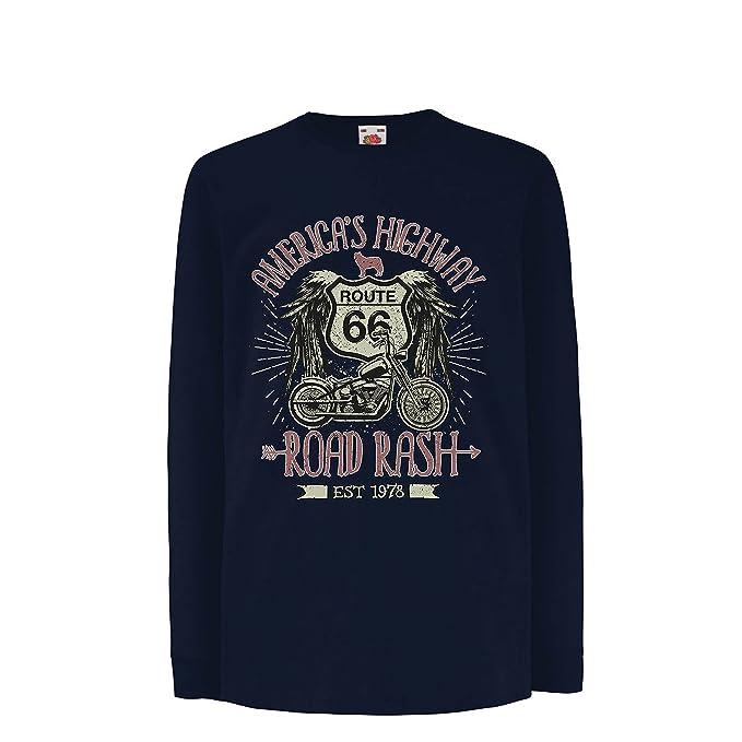 lepni.me Camiseta para Niño/Niña Ruta 66, autopista de los Estados Unidos - Road Rash, Ropa de Motorista: Amazon.es: Ropa y accesorios