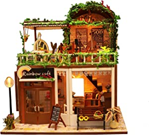 Flever Dollhouse Miniature DIY House Kit Creative Room with Furniture for Romantic Artwork Gift-Rainbow Cafe