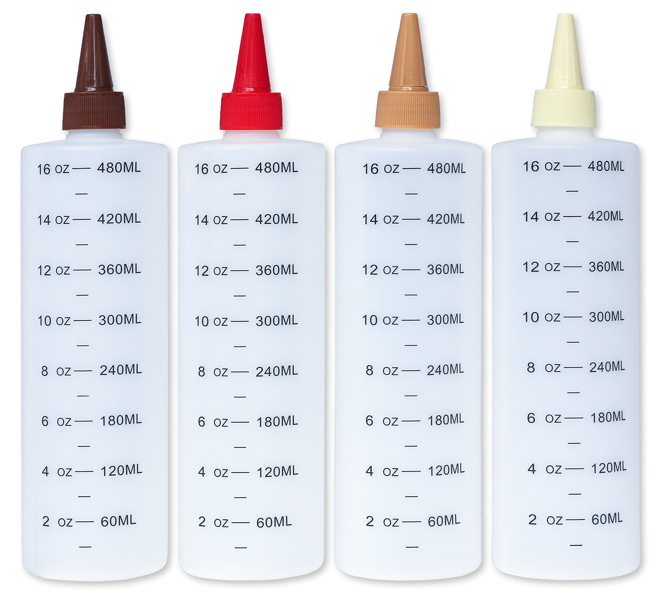 Plastic Squeeze Bottles with Leak-Proof Colored Caps, 16-Oz, Set of 4 (With Measurements)