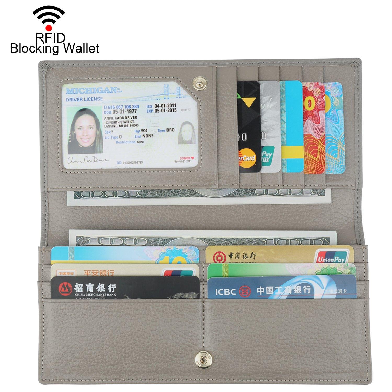 Dante Women RFID Blocking Ultra Slim Leather Wallet-Clutch Wallet(Gray)