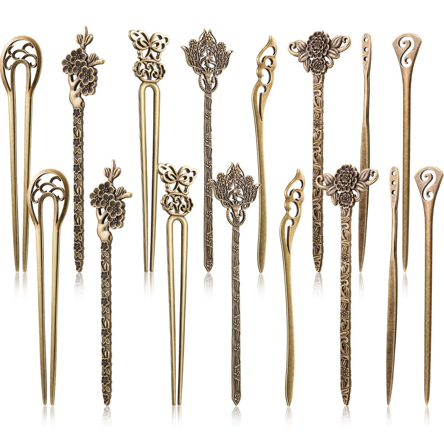 16 Pieces Hair Sticks for Women Hair Pins Chinese Hair Chopsticks Retro Vintage Decorative by Yaomiao