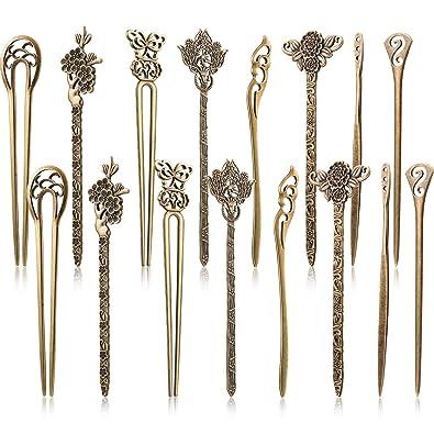 Yaomiao 16 Piezas de Palos de Pelo para Mujeres Pasadores de Pelo Chinos Retro Vintage Decorativos