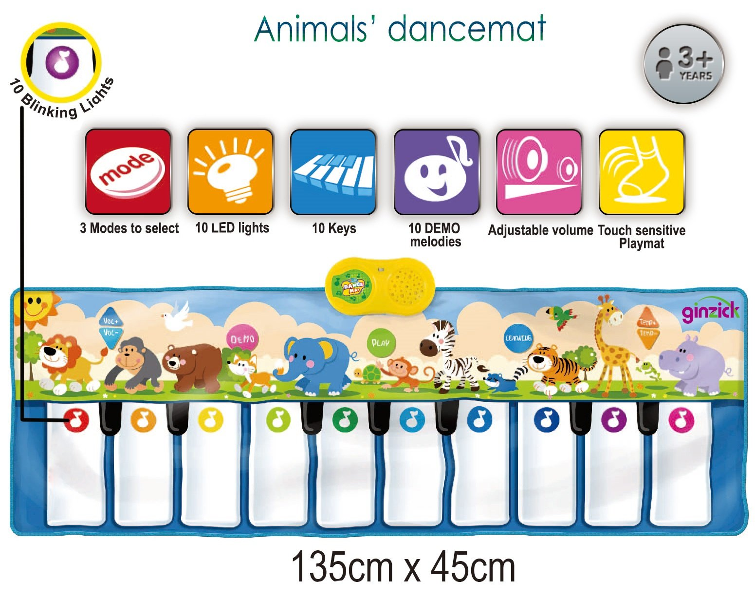 Ginzick Kids Animals Music Piano Fun Dance Mat by GINZICK
