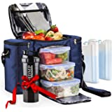 Meal Prep Lunch Bag / Box For Men, Women + 3 Large Food Containers (45 Oz.) + 2 Big Reusable Ice Packs + Shoulder Strap…