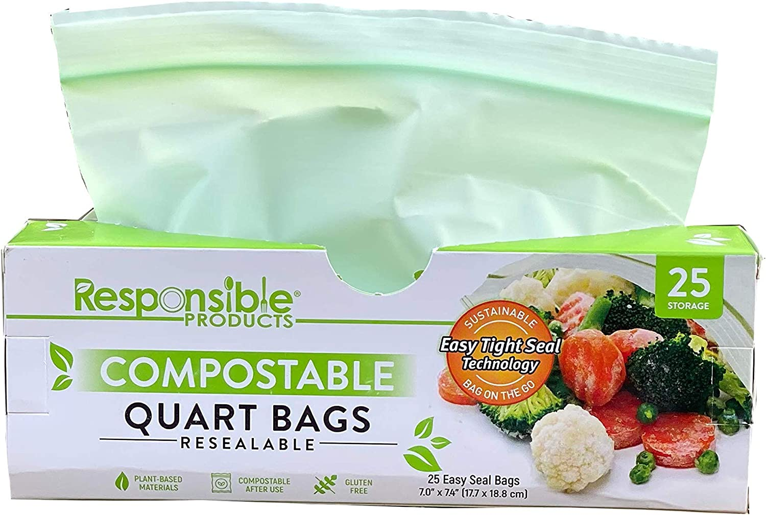Responsible Products Home Compostable QUART Zip Bag, Resealable Extra Strength Biodegradable Bags, Plant-Based Freezer-Safe (25 Pack)