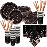 Black Party Supplies 50 Guests Rose Gold Foil Disposable Party Dinnerware Set Includes Paper Napkins Plates Cups Straws…