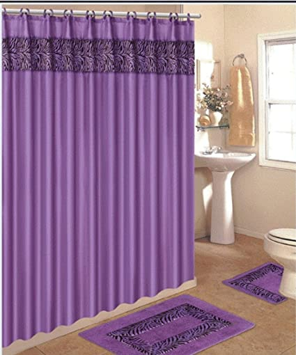 4 Piece Bath Rug Set 3 Purple Zebra Bathroom Rugs With Fabric Shower Curtain