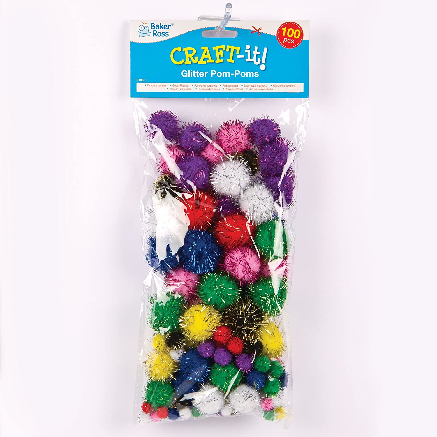 Baker Ross Glitter Pom Poms for Children to Decorate and Embellish Arts & Crafts (Pack of 100)