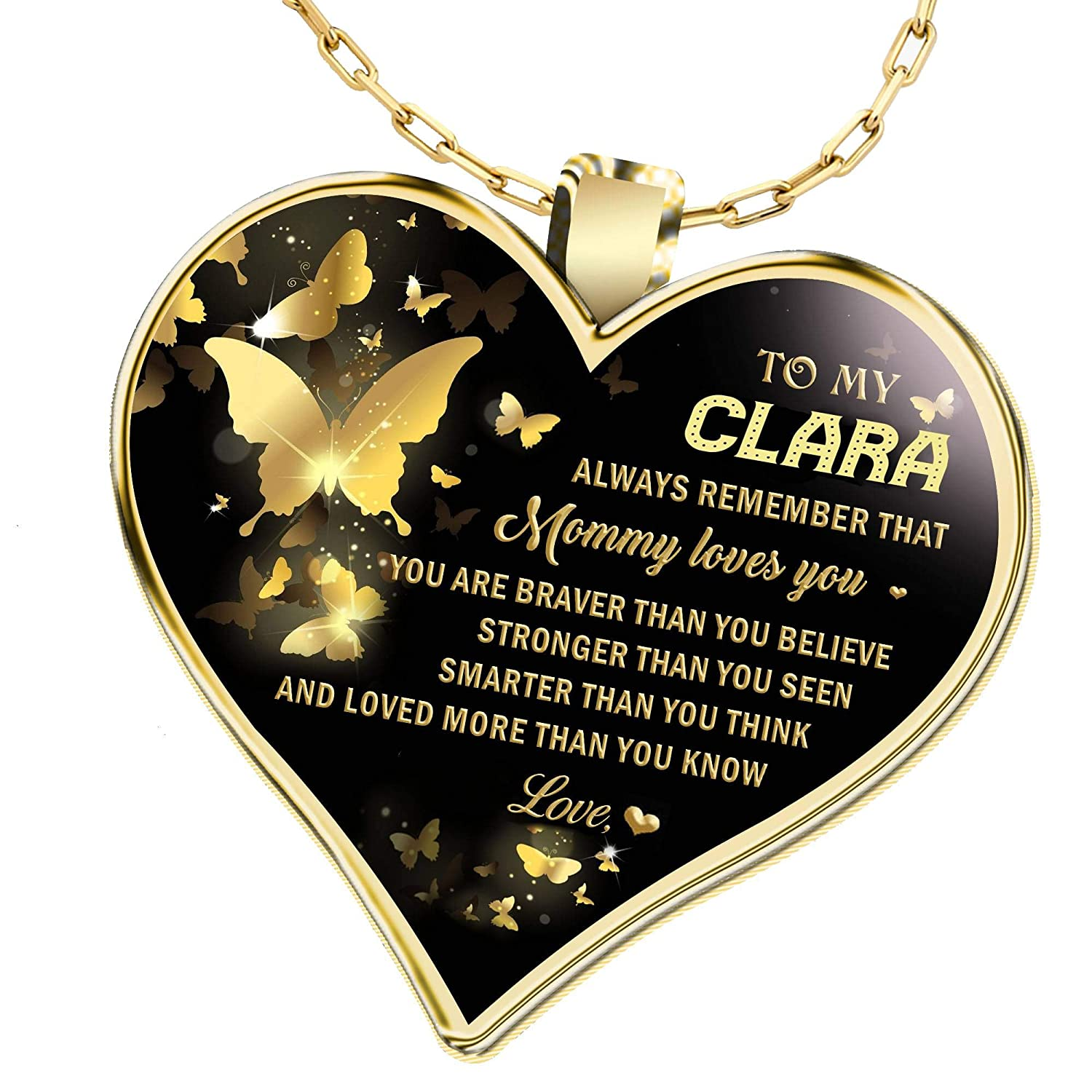 Gifts Necklace Name for Wife to My Clara Always Remember That Mommy Love You You are Braver Than You Believe for Mom Daughter Jewelry 18K Gold Plated