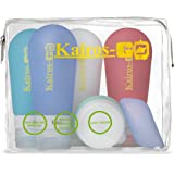 KAIROS-GO Ultimate 6-Piece Travel Toiletry Bottles Set –4 x 3oz Leakproof & TSA-Approved Silicone Squeeze Liquid Containers, Portable Toothbrush Holder & Cream/Pills Jar In Clear Carryon Case