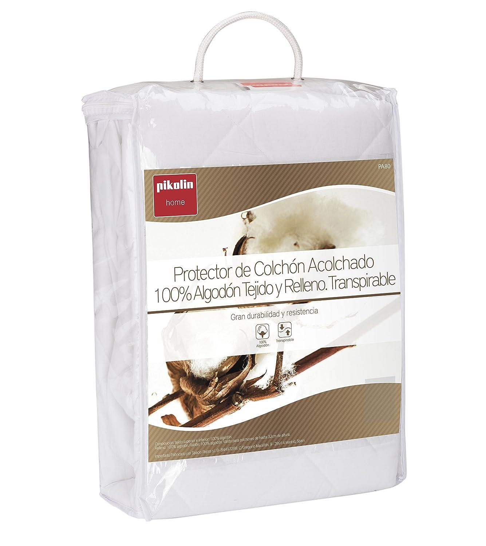 Pikolin Home - Protector de colchón acolchado cubre colchón, 100% algodón, tejido y relleno, transpirable, 180 x 200 cm, cama 180 cm (Todas las medidas): ...