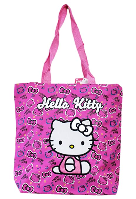 787fffc45f27 Image Unavailable. Image not available for. Color  Hello Kitty Face and  Hair Bow Pattern Hot Pink Medium Size Tote Bag