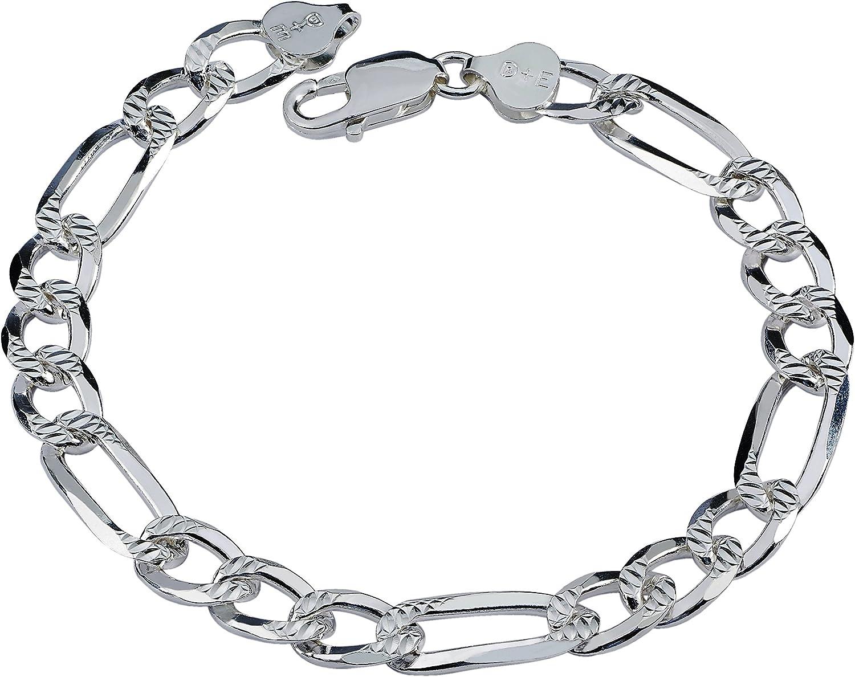 "Sterling Silver italien Figaro Bracelet De Cheville 2.1 mm 10/"" Homard Lock"