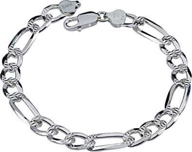 .925 Sterling Silver Solid Figaro Diamond Cut Pave ITProLux Bracelet Chains