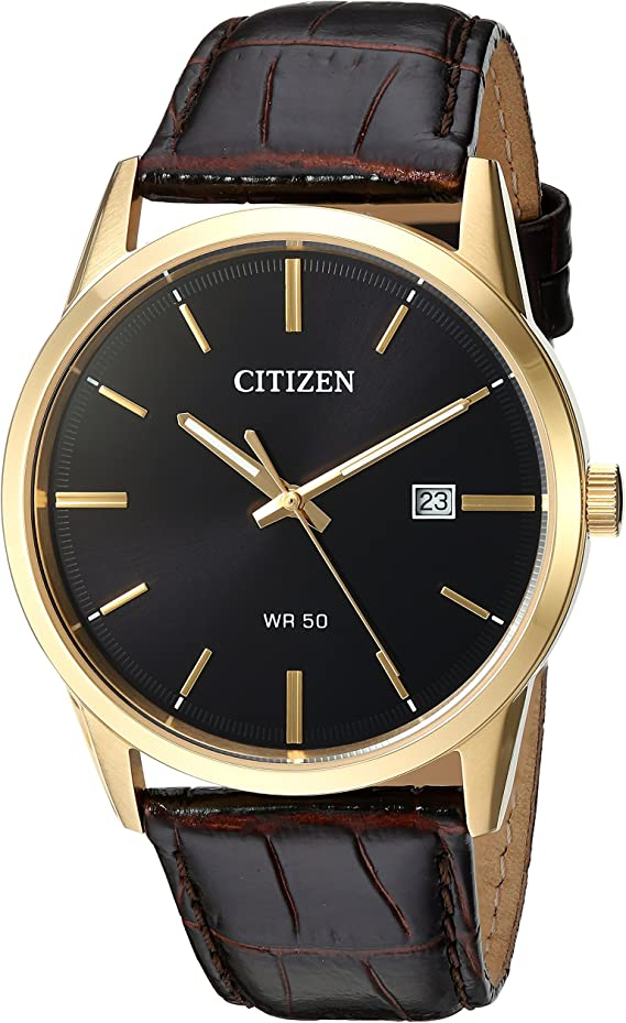 Citizen Men's Quartz Stainless Steel and Leather Casual Watch