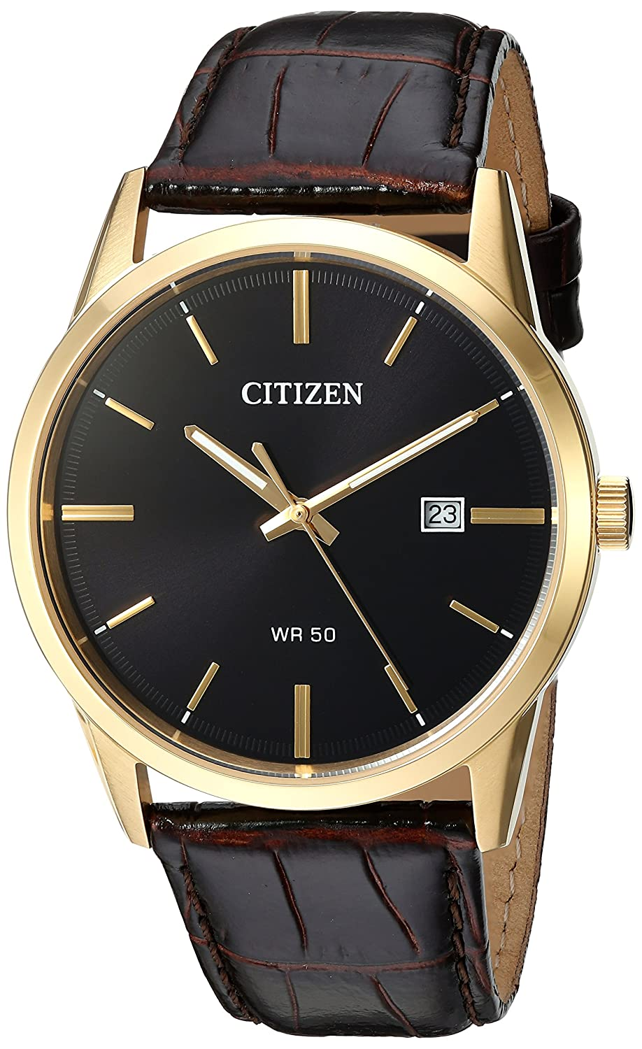 Citizen Men's Quartz Stainless Steel And Leather Casual Watch, Color Brown (Model: Bi5002 06 E) by Citizen
