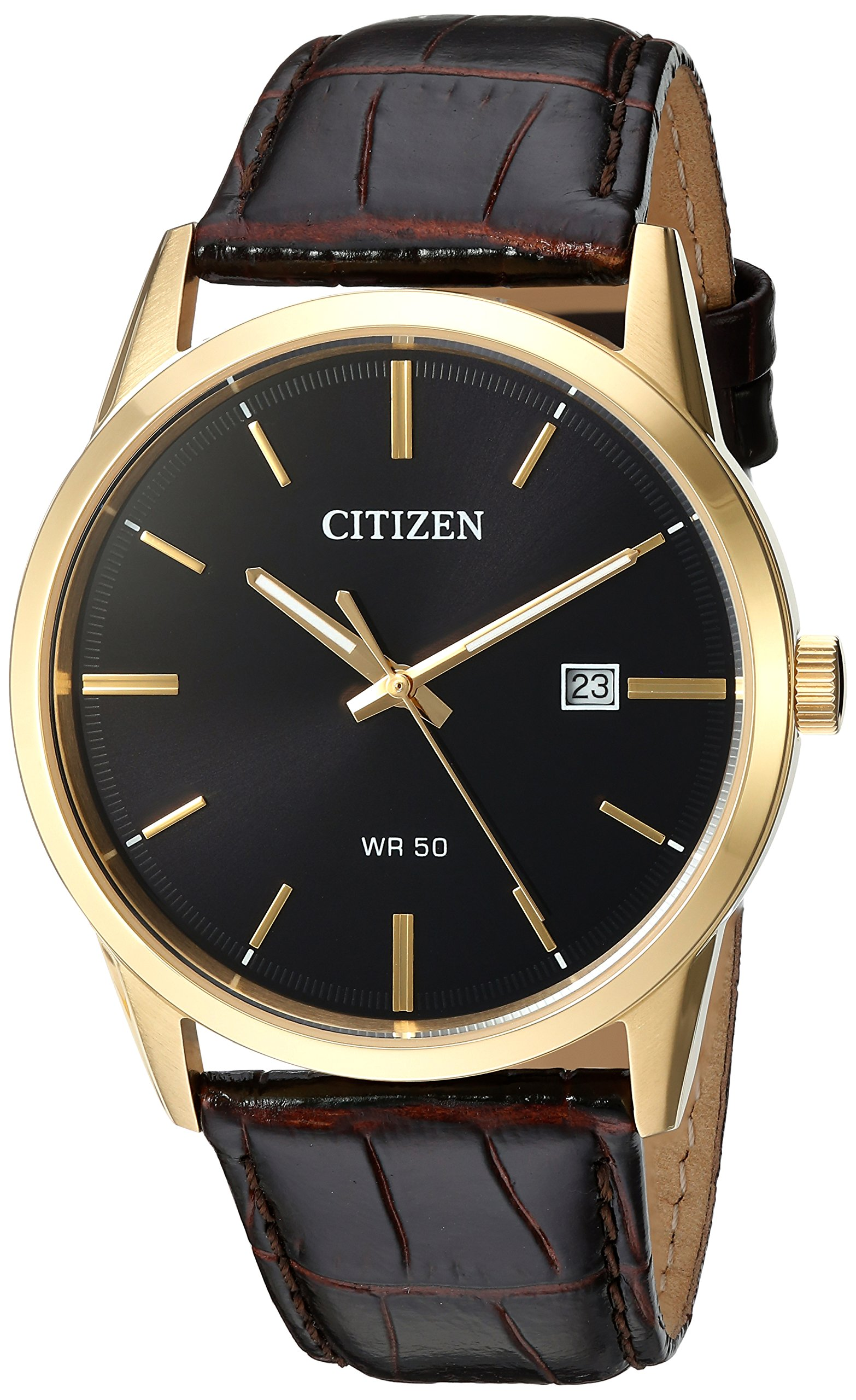 Men's Quartz Stainless Steel and Leather Casual Watch, Color:Brown (Model: BI5002-06E)