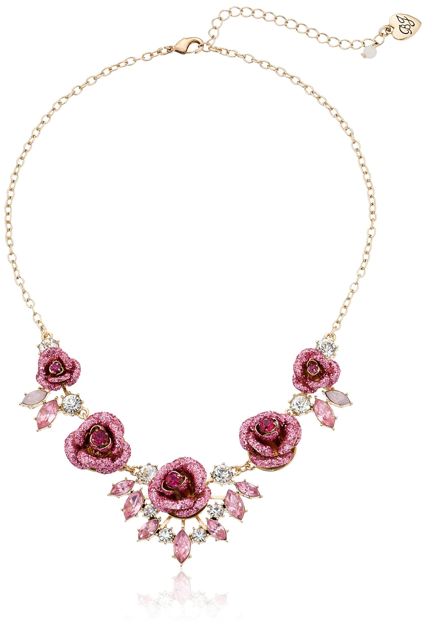 Betsey Johnson ''Glitter Rose'' Necklace by Betsey Johnson
