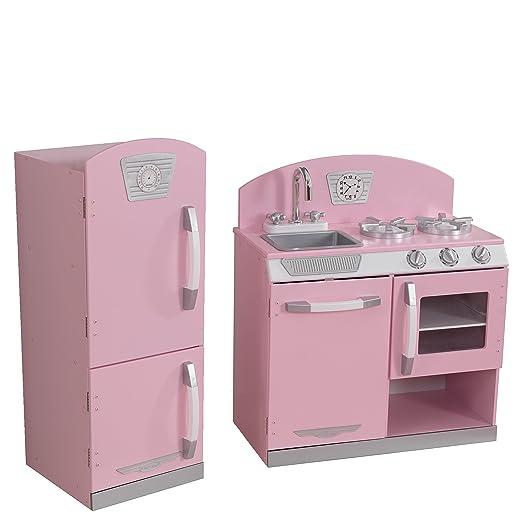 2 piezas Retro de la cocina y refrigerador Set, niños cocina de ...
