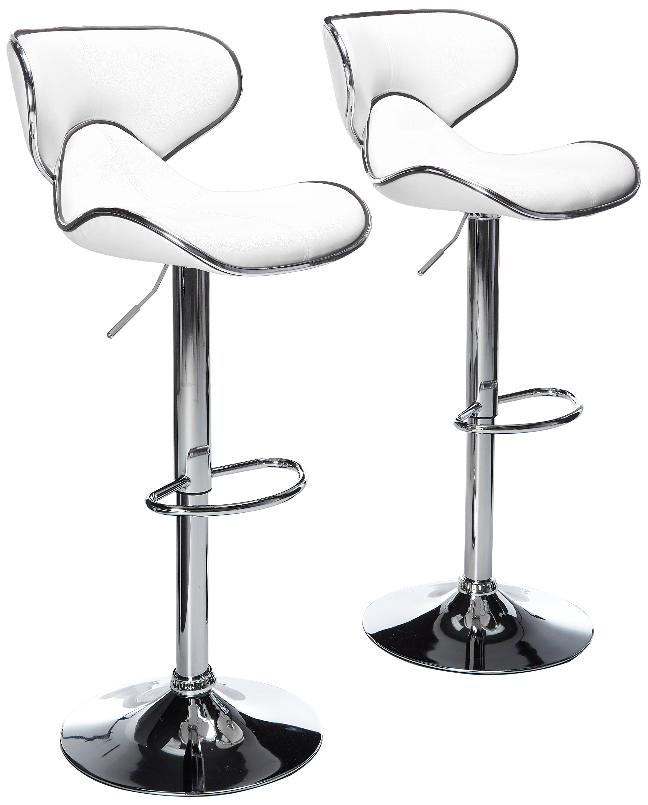 Roundhill Furniture Masaccio Cushioned White Leatherette Upholstery Airlift Swivel Barstool (Set of 2) by Roundhill Furniture