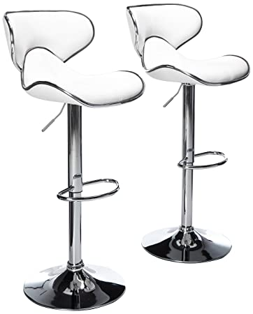 Roundhill Furniture Masaccio Cushioned White Leatherette Upholstery Airlift Swivel Barstool Set of 2