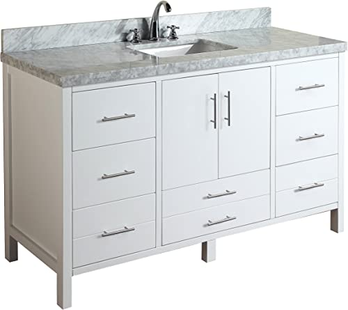 California 60-inch Single Bathroom Vanity Carrara/White : Includes White Cabinet