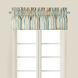C&F Home Natural Shells Blue Cream Tan Stripes Coastal Tropical Beach House Ocean Bedroom Premium Window Blouson Valance Striped Blouson Valance Blue Multi